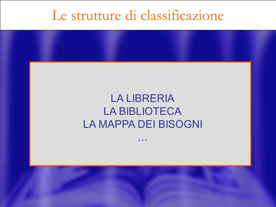 Le strutture di classificazione LA LIBRERIA LA BIBLIOTECA LA MAPPA DEI BISOGNI …