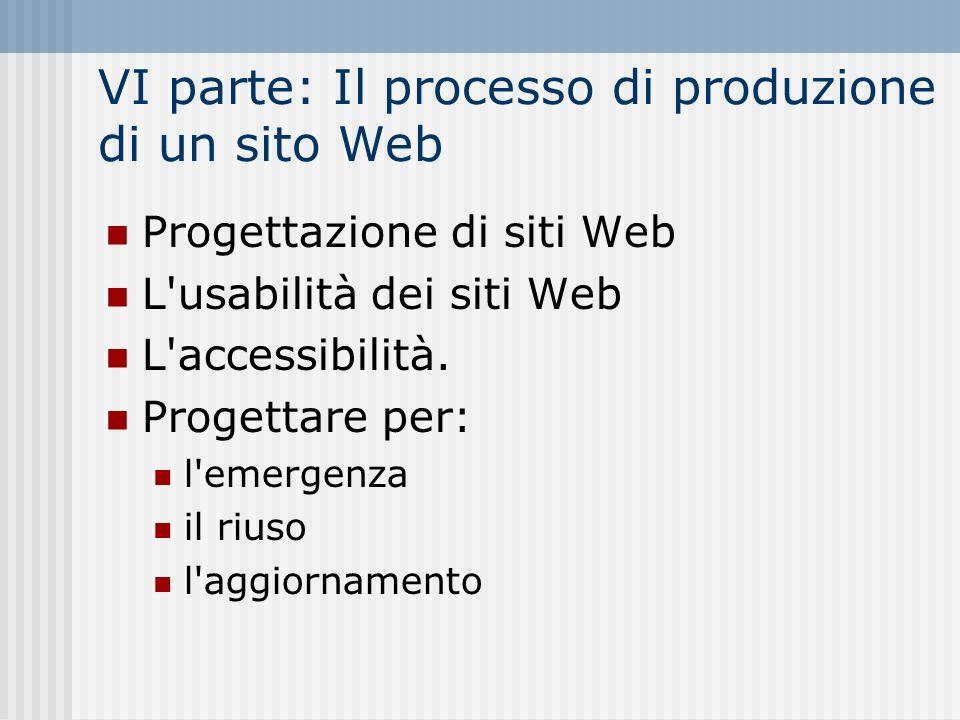 VI parte: Il processo di produzione di un sito Web Progettazione di siti Web L'usabilità dei siti Web L'accessibilità. Progettare per: l'emergenza il