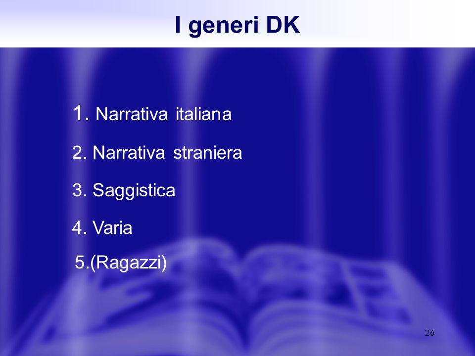 26 1. Narrativa italiana 2. Narrativa straniera 3. Saggistica 4. Varia I generi DK 5.(Ragazzi)