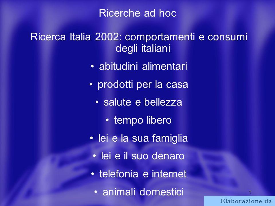 7 Ricerche ad hoc Ricerca Italia 2002: comportamenti e consumi degli italiani abitudini alimentari prodotti per la casa salute e bellezza tempo libero lei e la sua famiglia lei e il suo denaro telefonia e internet animali domestici Elaborazione da Cemit