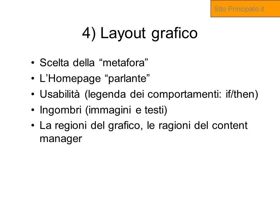 4) Layout grafico Scelta della metafora LHomepage parlante Usabilità (legenda dei comportamenti: if/then) Ingombri (immagini e testi) La regioni del grafico, le ragioni del content manager Sito Principato.it