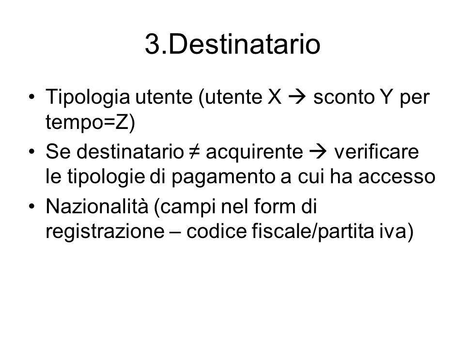 3.Destinatario Tipologia utente (utente X sconto Y per tempo=Z) Se destinatario acquirente verificare le tipologie di pagamento a cui ha accesso Nazio