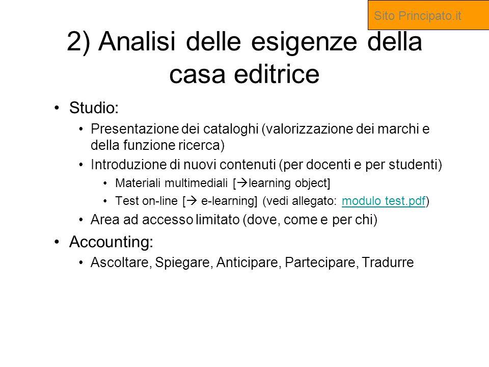 2) Analisi delle esigenze della casa editrice Studio: Presentazione dei cataloghi (valorizzazione dei marchi e della funzione ricerca) Introduzione di