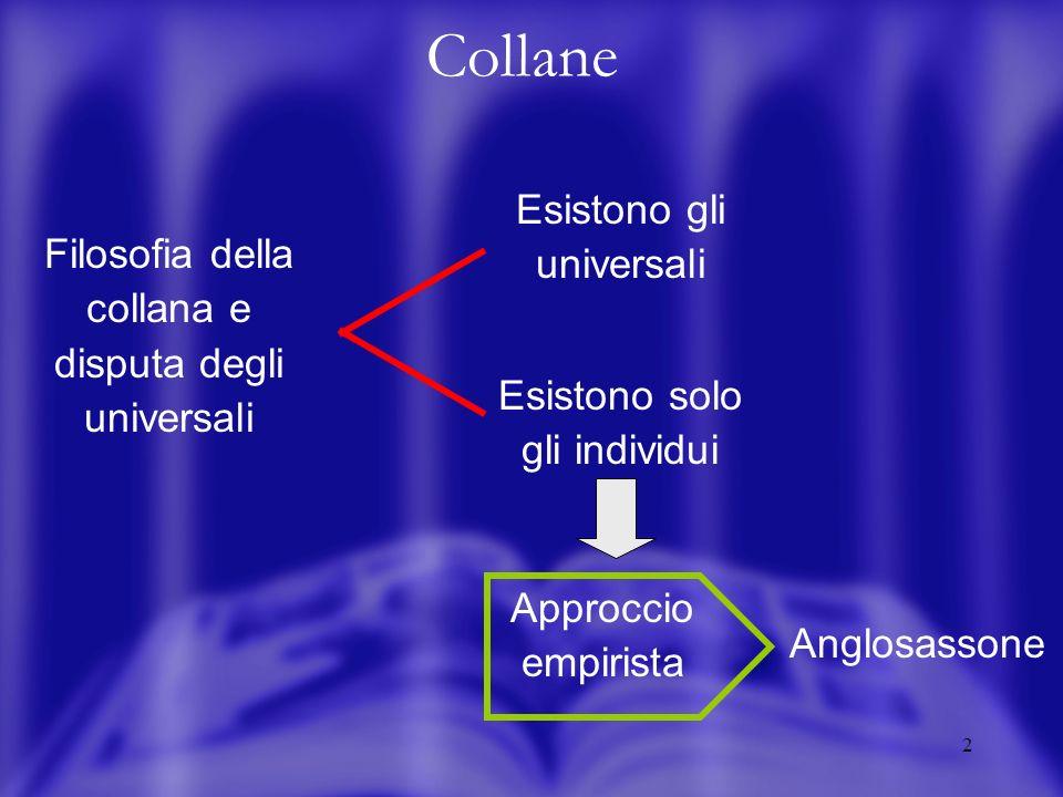 2 Collane Filosofia della collana e disputa degli universali Esistono gli universali Esistono solo gli individui Approccio empirista Anglosassone