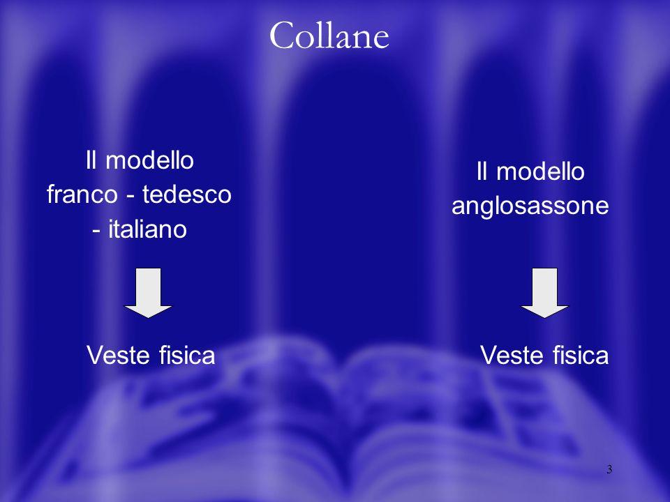 3 Collane Il modello franco - tedesco - italiano Il modello anglosassone Veste fisica
