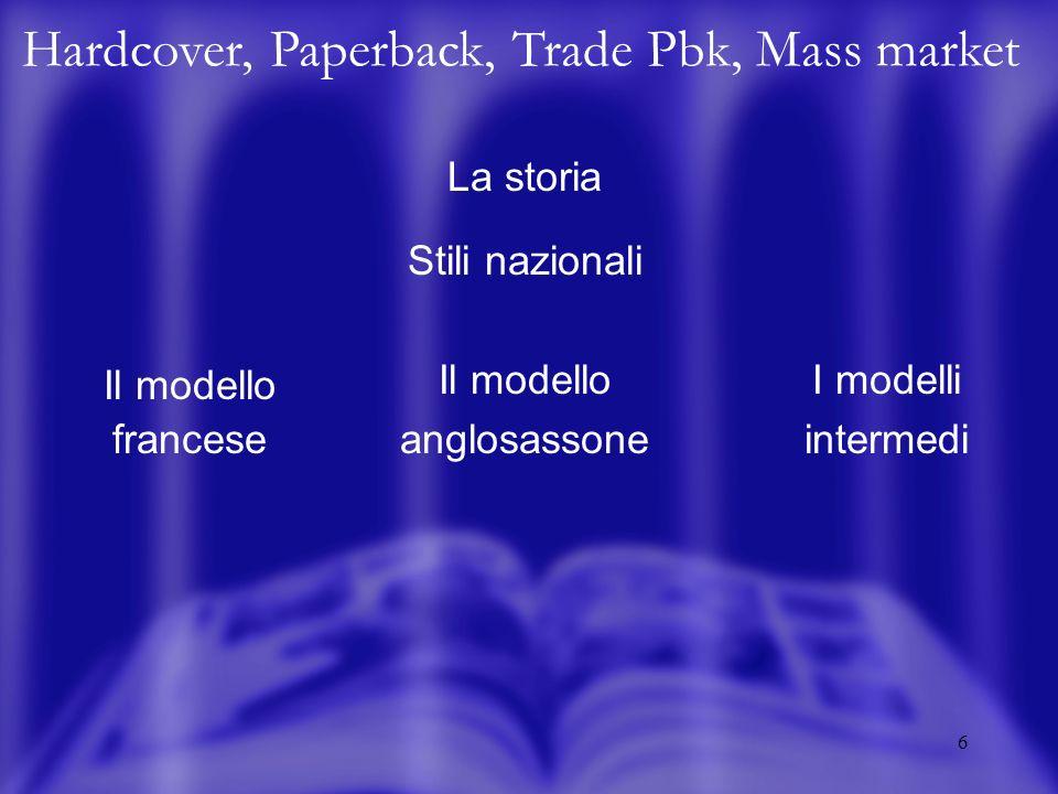 7 HC, PB, TP, MM La storia Tipologie tradizionali Il libro borghese Il libro popolare I classici fuori diritti Allen Lane - Pocket Books