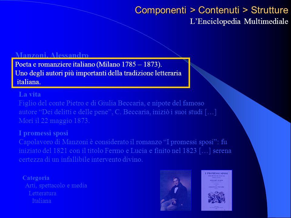 Componenti > Contenuti > Strutture LEnciclopedia Multimediale Manzoni, Alessandro Poeta e romanziere italiano (Milano 1785 – 1873).