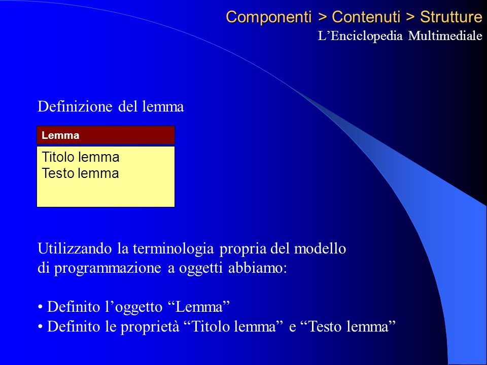 Componenti > Contenuti > Strutture LEnciclopedia Multimediale Titolo lemma Testo lemma Lemma Definizione del lemma Utilizzando la terminologia propria del modello di programmazione a oggetti abbiamo: Definito loggetto Lemma Definito le proprietà Titolo lemma e Testo lemma