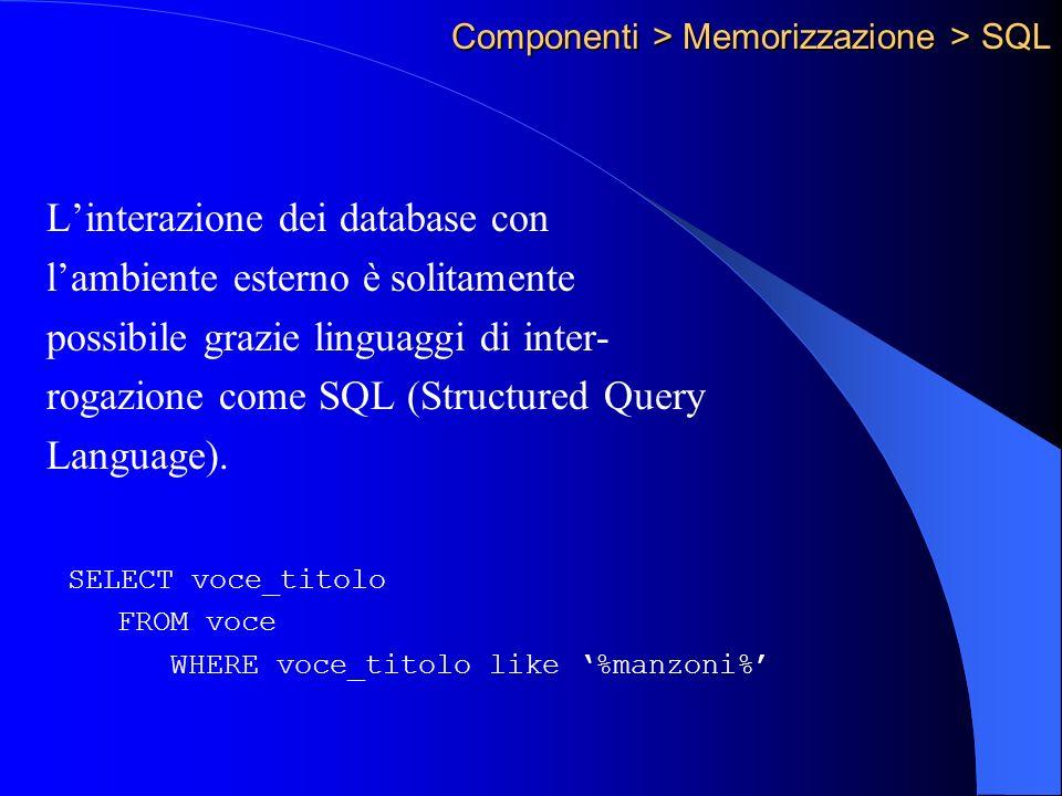 Componenti > Memorizzazione > SQL Linterazione dei database con lambiente esterno è solitamente possibile grazie linguaggi di inter- rogazione come SQL (Structured Query Language).