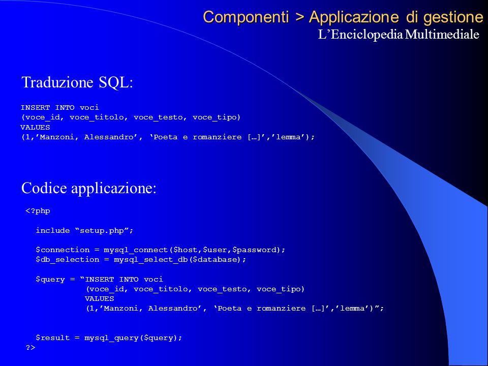 Componenti > Applicazione di gestione LEnciclopedia Multimediale Traduzione SQL: Codice applicazione: INSERT INTO voci (voce_id, voce_titolo, voce_testo, voce_tipo) VALUES (1,Manzoni, Alessandro, Poeta e romanziere […],lemma); < php include setup.php; $connection = mysql_connect($host,$user,$password); $db_selection = mysql_select_db($database); $query = INSERT INTO voci (voce_id, voce_titolo, voce_testo, voce_tipo) VALUES (1,Manzoni, Alessandro, Poeta e romanziere […],lemma); $result = mysql_query($query); >
