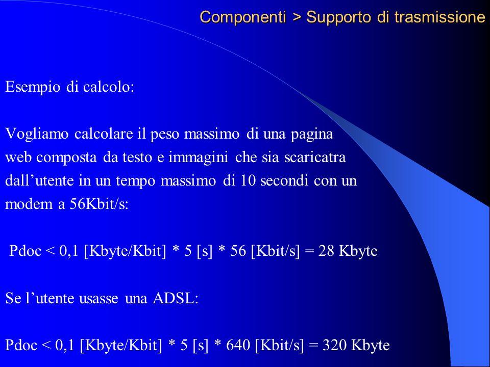 Componenti > Supporto di trasmissione Esempio di calcolo: Vogliamo calcolare il peso massimo di una pagina web composta da testo e immagini che sia scaricatra dallutente in un tempo massimo di 10 secondi con un modem a 56Kbit/s: Pdoc < 0,1 [Kbyte/Kbit] * 5 [s] * 56 [Kbit/s] = 28 Kbyte Se lutente usasse una ADSL: Pdoc < 0,1 [Kbyte/Kbit] * 5 [s] * 640 [Kbit/s] = 320 Kbyte