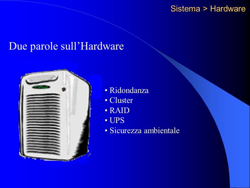 Sistema > Hardware Due parole sullHardware Ridondanza Cluster RAID UPS Sicurezza ambientale