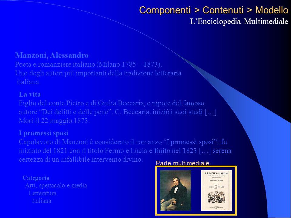 Componenti > Contenuti > Modello LEnciclopedia Multimediale Manzoni, Alessandro Poeta e romanziere italiano (Milano 1785 – 1873).