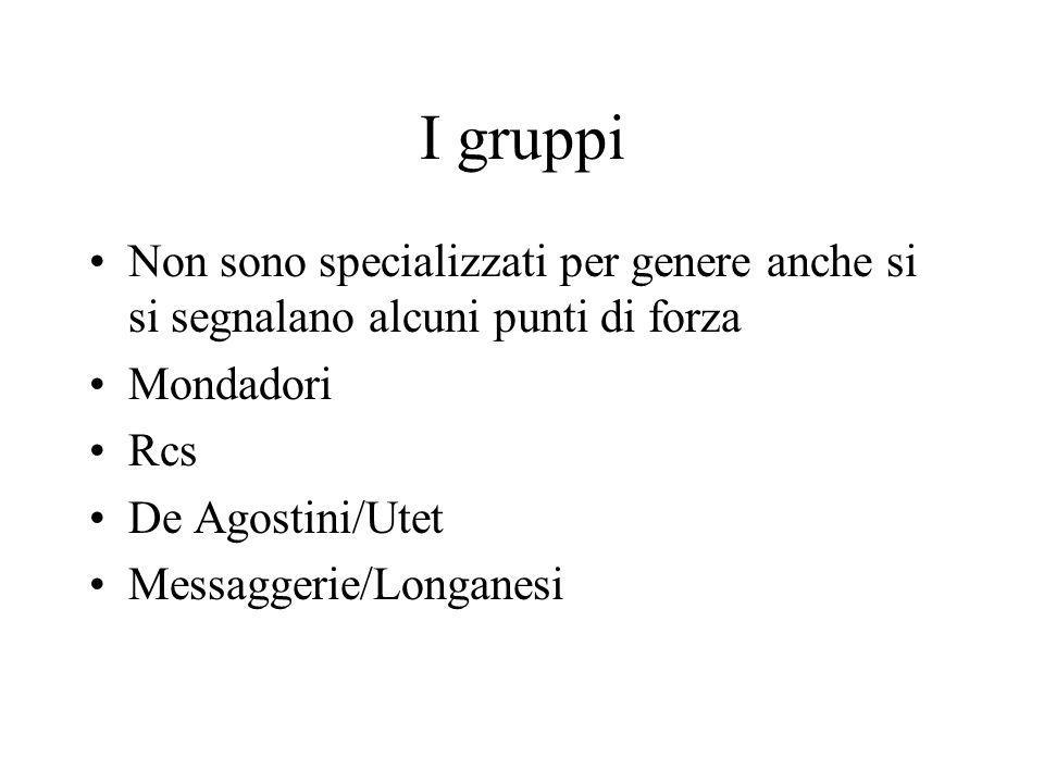 I gruppi Non sono specializzati per genere anche si si segnalano alcuni punti di forza Mondadori Rcs De Agostini/Utet Messaggerie/Longanesi