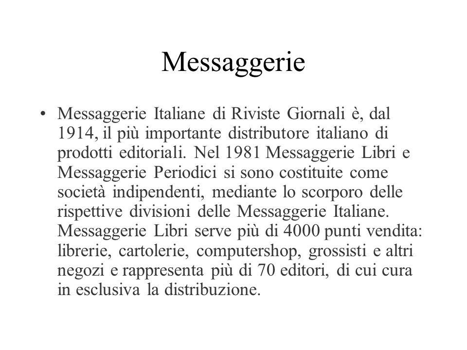Messaggerie Messaggerie Italiane di Riviste Giornali è, dal 1914, il più importante distributore italiano di prodotti editoriali. Nel 1981 Messaggerie