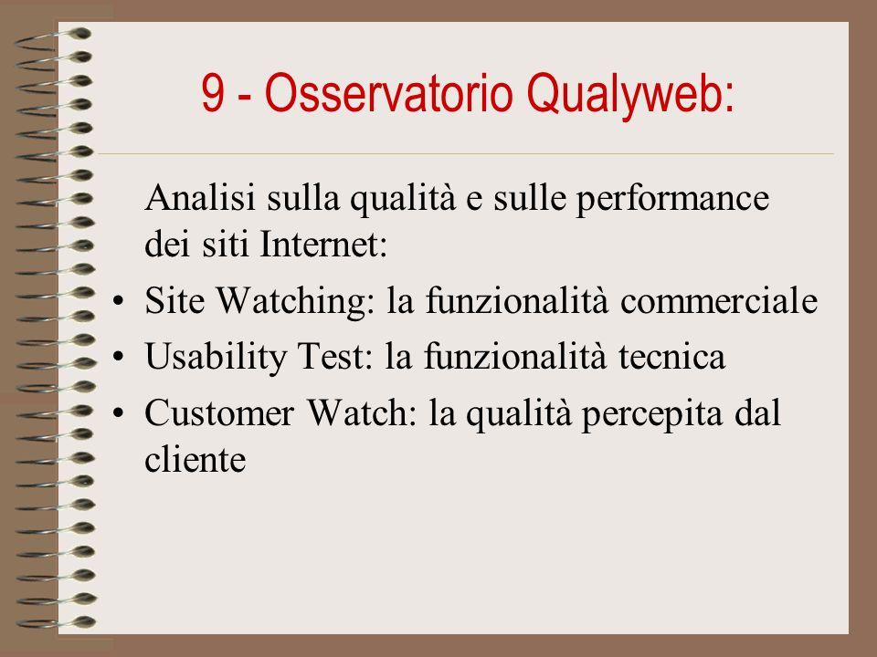 9 - Osservatorio Qualyweb: Analisi sulla qualità e sulle performance dei siti Internet: Site Watching: la funzionalità commerciale Usability Test: la funzionalità tecnica Customer Watch: la qualità percepita dal cliente