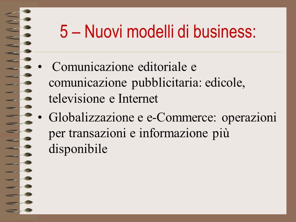 5 – Nuovi modelli di business: Comunicazione editoriale e comunicazione pubblicitaria: edicole, televisione e Internet Globalizzazione e e-Commerce: operazioni per transazioni e informazione più disponibile