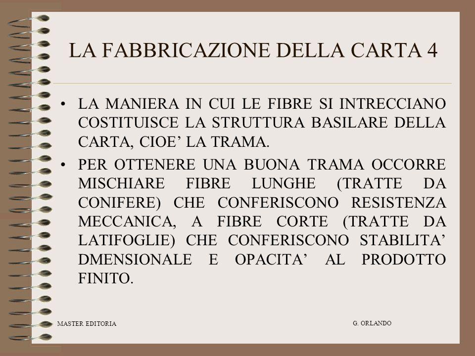 MASTER EDITORIA G. ORLANDO LA FABBRICAZIONE DELLA CARTA 4 LA MANIERA IN CUI LE FIBRE SI INTRECCIANO COSTITUISCE LA STRUTTURA BASILARE DELLA CARTA, CIO