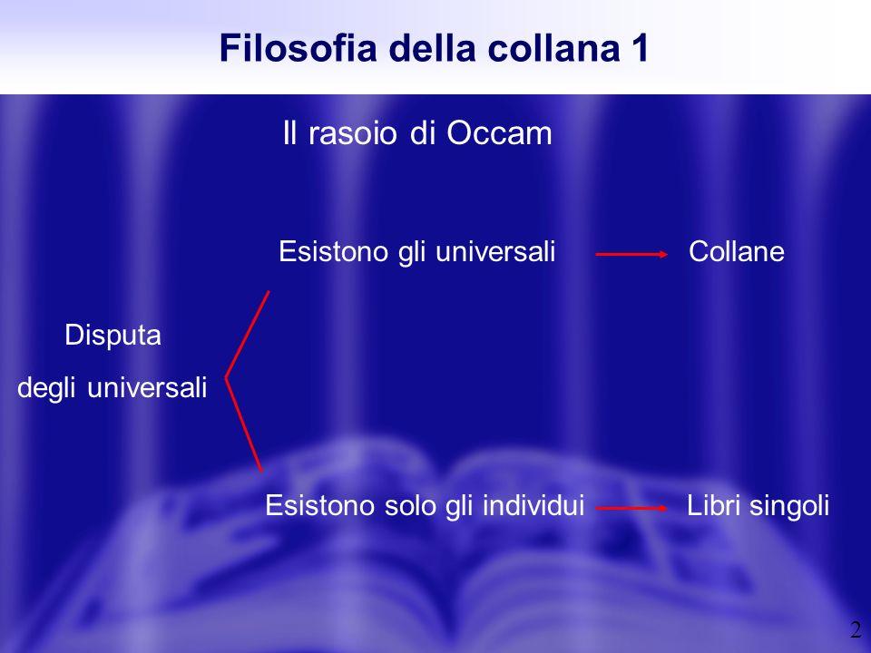 2 Filosofia della collana 1 Il rasoio di Occam Esistono solo gli individui Esistono gli universali Disputa degli universali Libri singoli Collane