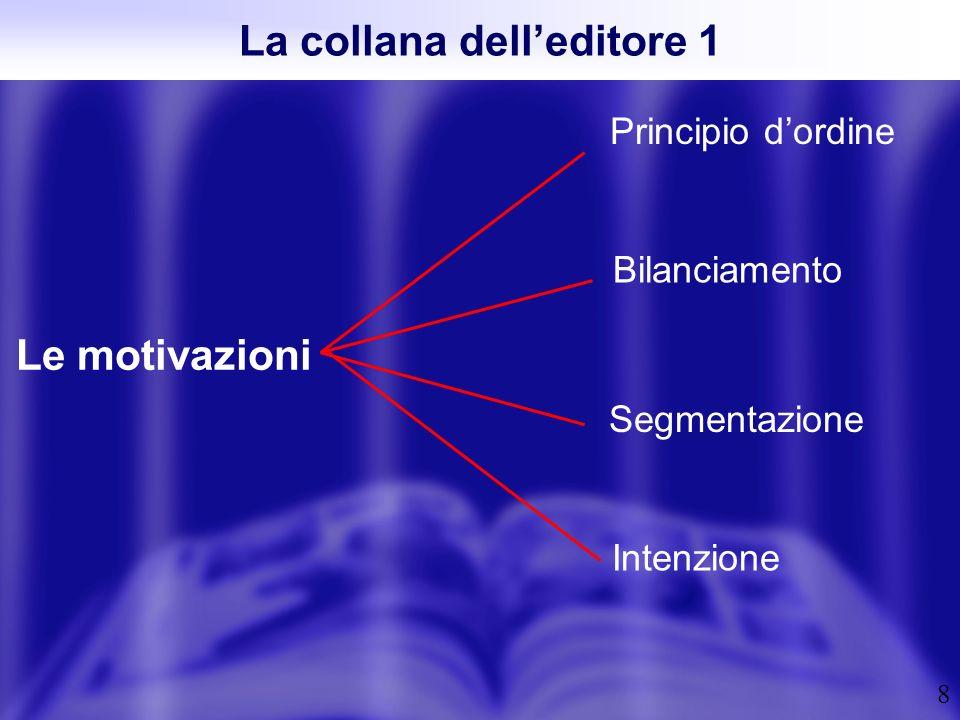 8 La collana delleditore 1 Le motivazioni Principio dordine Intenzione Segmentazione Bilanciamento