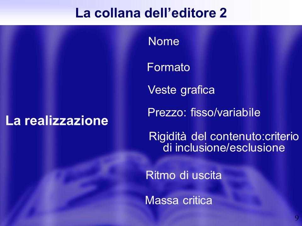 9 La collana delleditore 2 La realizzazione Nome Ritmo di uscita Veste grafica Formato Massa critica Rigidità del contenuto:criterio di inclusione/esc