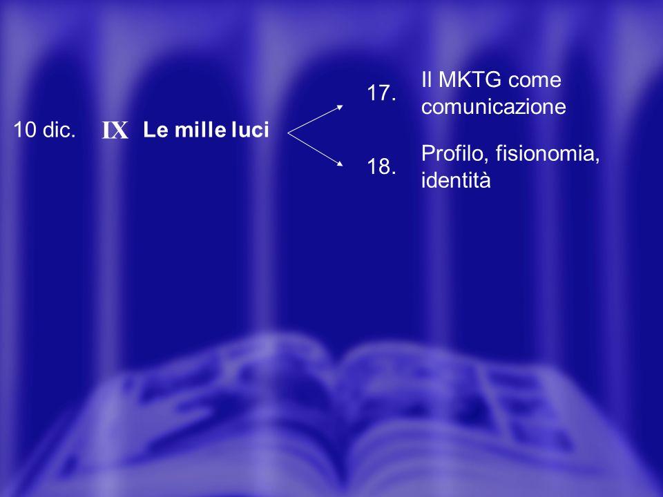 10 dic. IX Le mille luci 17. Il MKTG come comunicazione 18. Profilo, fisionomia, identità