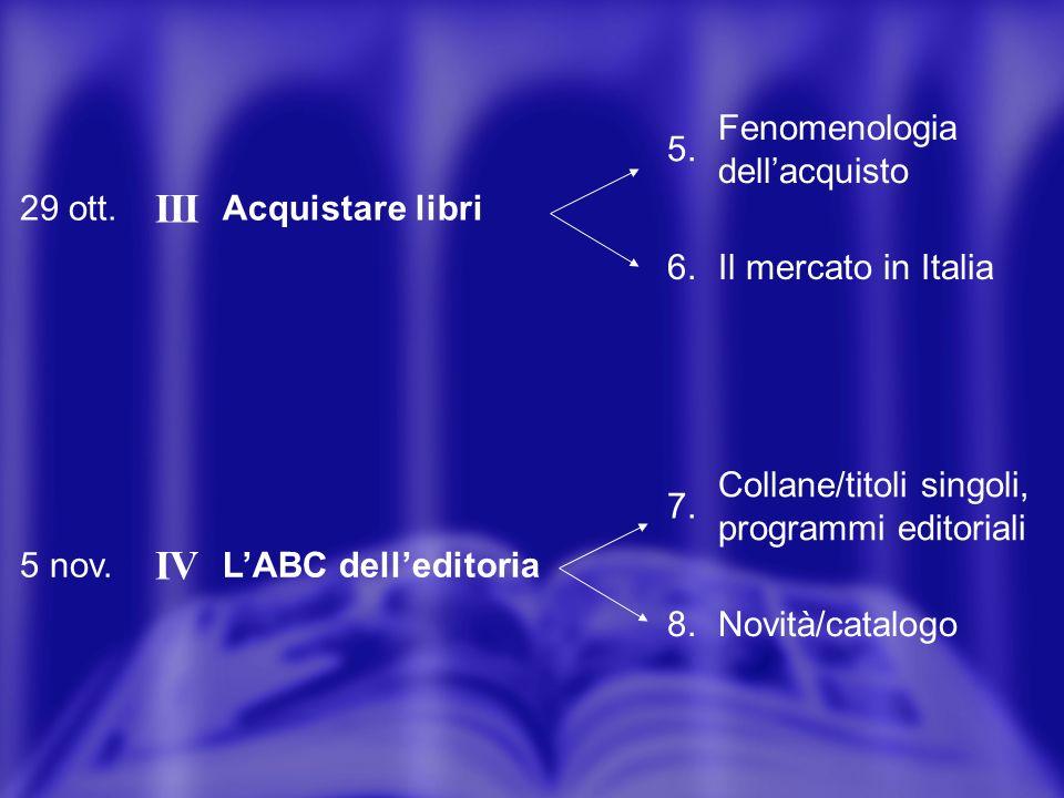 29 ott. III Acquistare libri 5. Fenomenologia dellacquisto 6.Il mercato in Italia 5 nov.