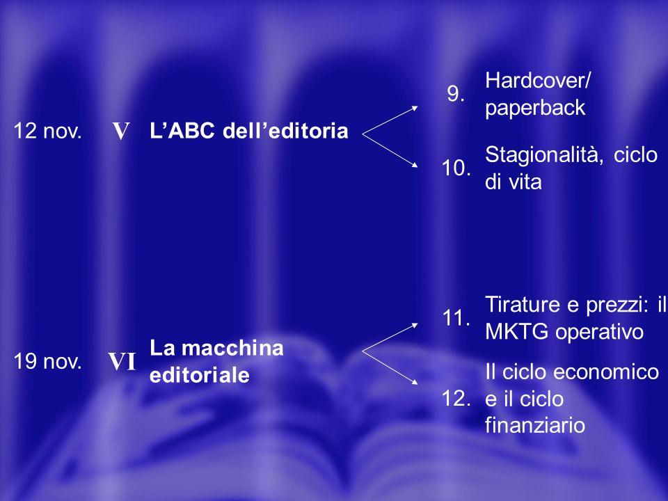 12 nov. V LABC delleditoria 9. Hardcover/ paperback 10.