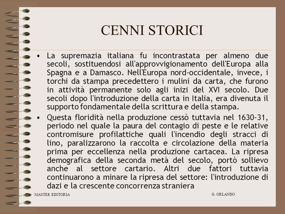 MASTER EDITORIA G. ORLANDO CENNI STORICI La supremazia italiana fu incontrastata per almeno due secoli, sostituendosi all'approvvigionamento dell'Euro