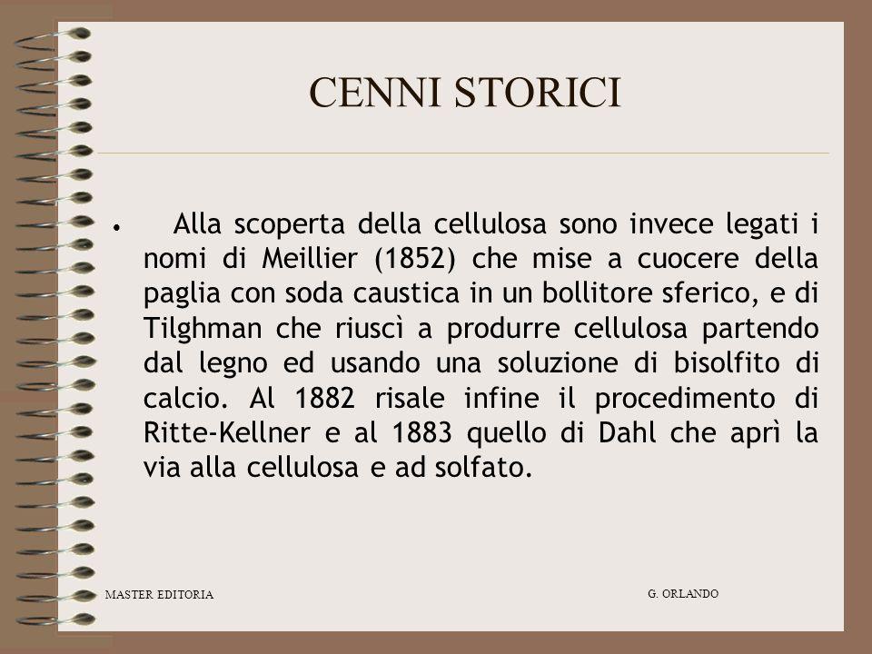 MASTER EDITORIA G. ORLANDO CENNI STORICI Alla scoperta della cellulosa sono invece legati i nomi di Meillier (1852) che mise a cuocere della paglia co