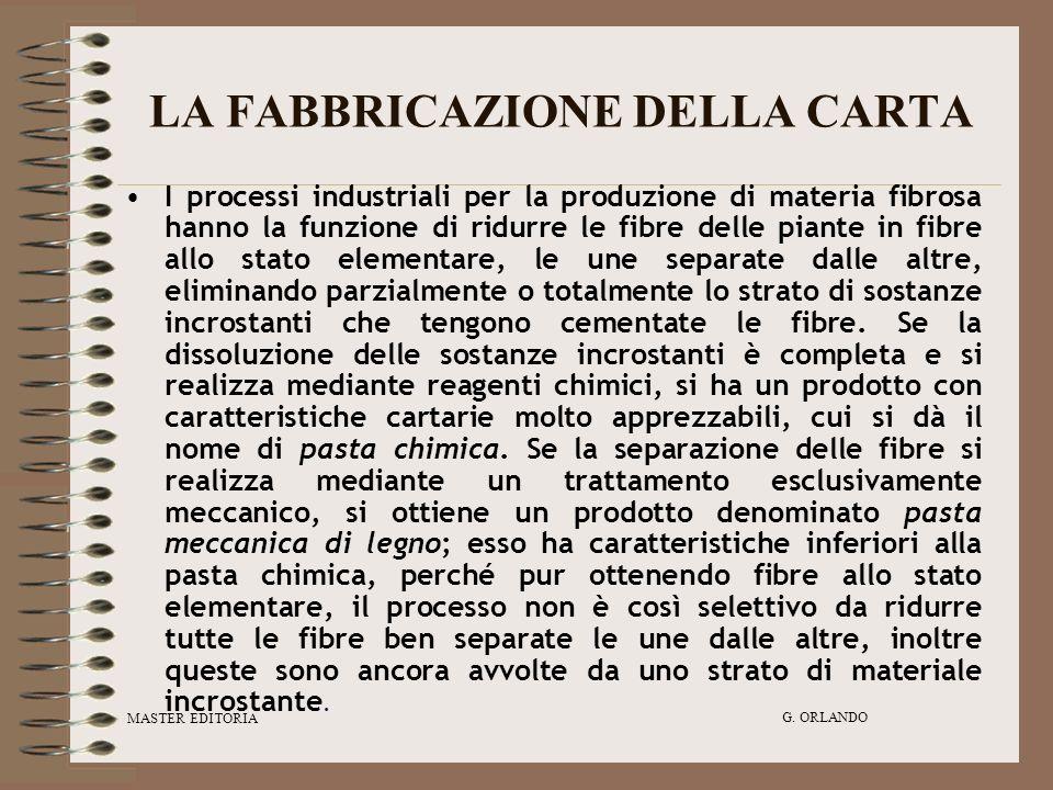 MASTER EDITORIA G. ORLANDO LA FABBRICAZIONE DELLA CARTA I processi industriali per la produzione di materia fibrosa hanno la funzione di ridurre le fi