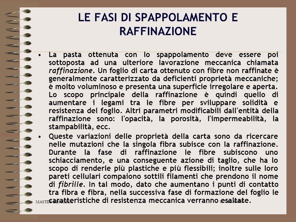 MASTER EDITORIA G. ORLANDO LE FASI DI SPAPPOLAMENTO E RAFFINAZIONE La pasta ottenuta con lo spappolamento deve essere poi sottoposta ad una ulteriore