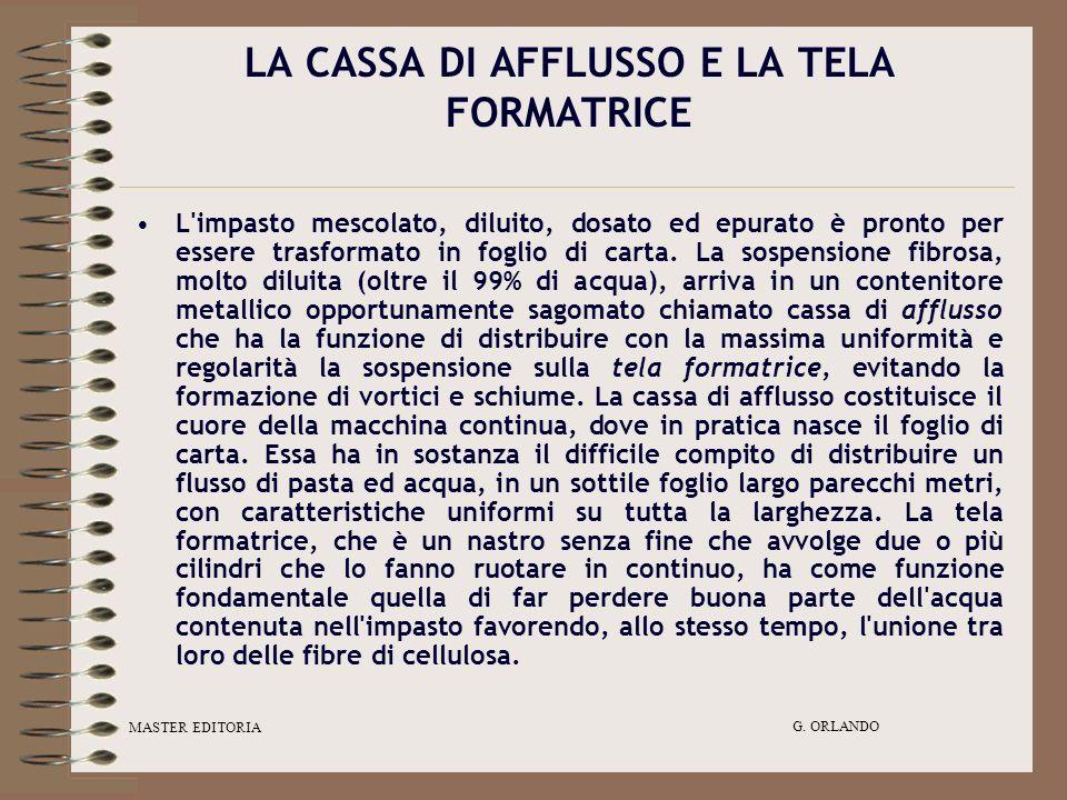MASTER EDITORIA G. ORLANDO LA CASSA DI AFFLUSSO E LA TELA FORMATRICE L'impasto mescolato, diluito, dosato ed epurato è pronto per essere trasformato i