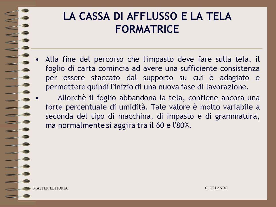 MASTER EDITORIA G. ORLANDO LA CASSA DI AFFLUSSO E LA TELA FORMATRICE Alla fine del percorso che l'impasto deve fare sulla tela, il foglio di carta com
