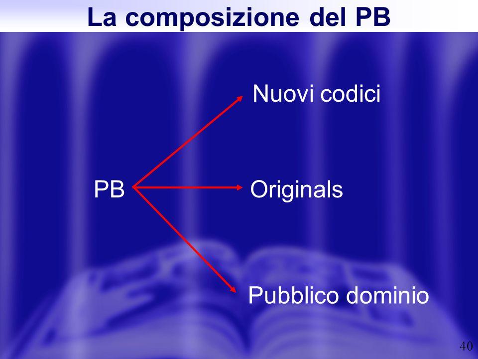 40 La composizione del PB PB Nuovi codici Originals Pubblico dominio