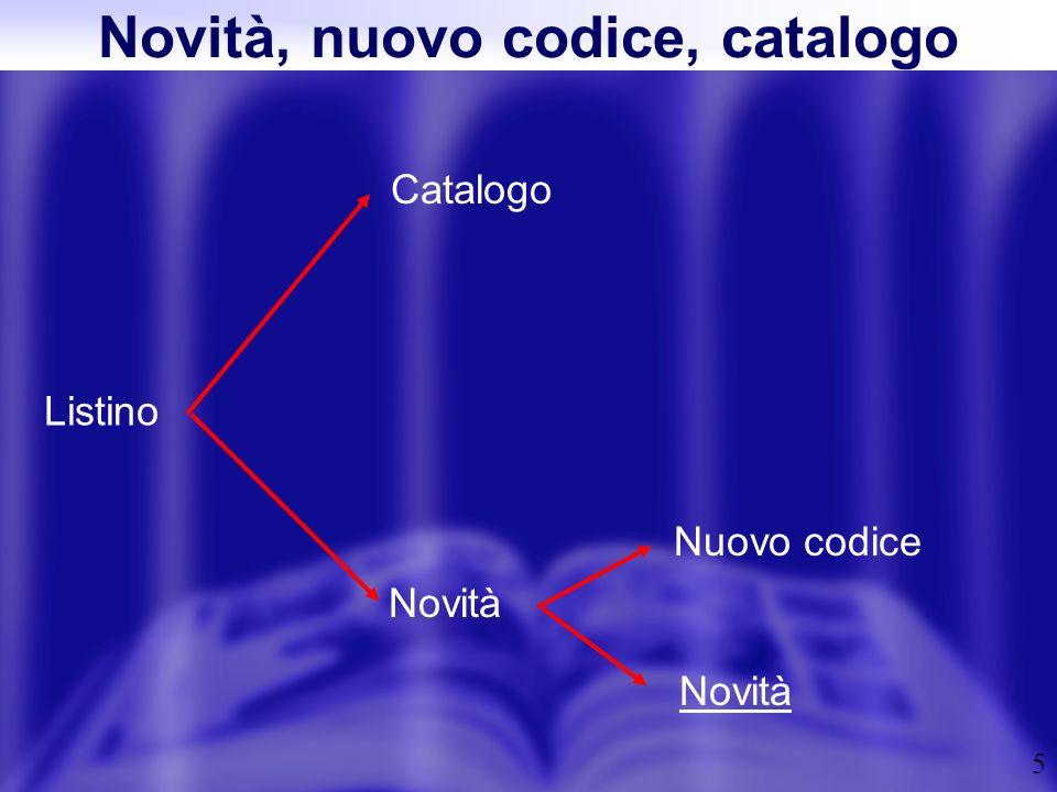 5 Novità, nuovo codice, catalogo Listino Catalogo Novità Nuovo codice Novità
