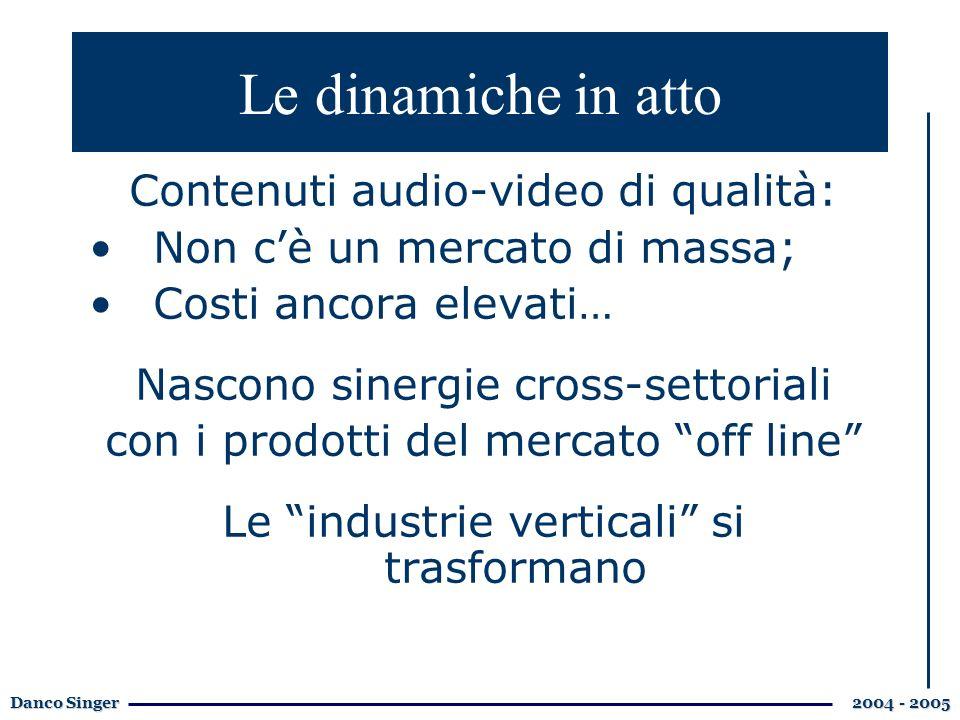 Danco Singer 2004 - 2005 Contenuti audio-video di qualità: Non cè un mercato di massa; Costi ancora elevati… Nascono sinergie cross-settoriali con i prodotti del mercato off line Le industrie verticali si trasformano Le dinamiche in atto