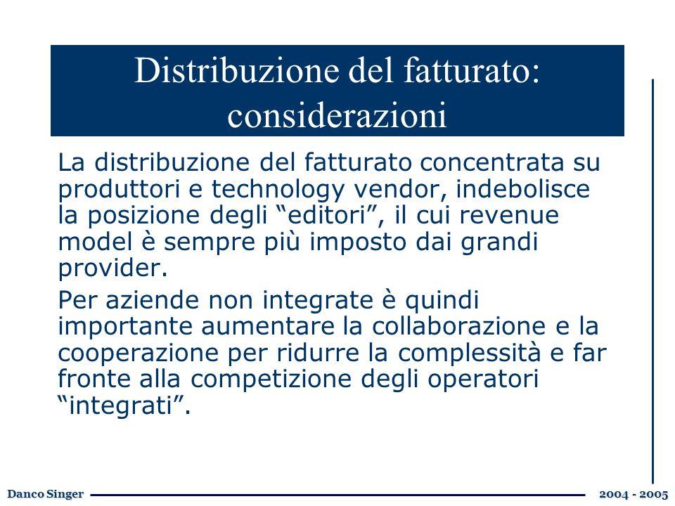 Danco Singer 2004 - 2005 La distribuzione del fatturato concentrata su produttori e technology vendor, indebolisce la posizione degli editori, il cui revenue model è sempre più imposto dai grandi provider.