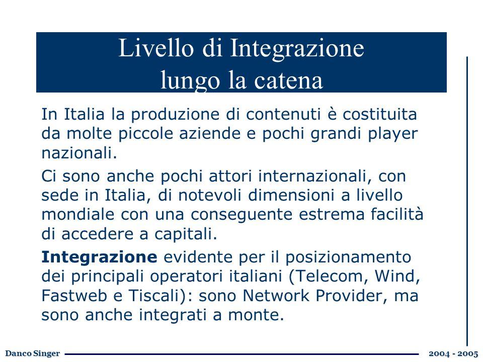 Danco Singer 2004 - 2005 In Italia la produzione di contenuti è costituita da molte piccole aziende e pochi grandi player nazionali.