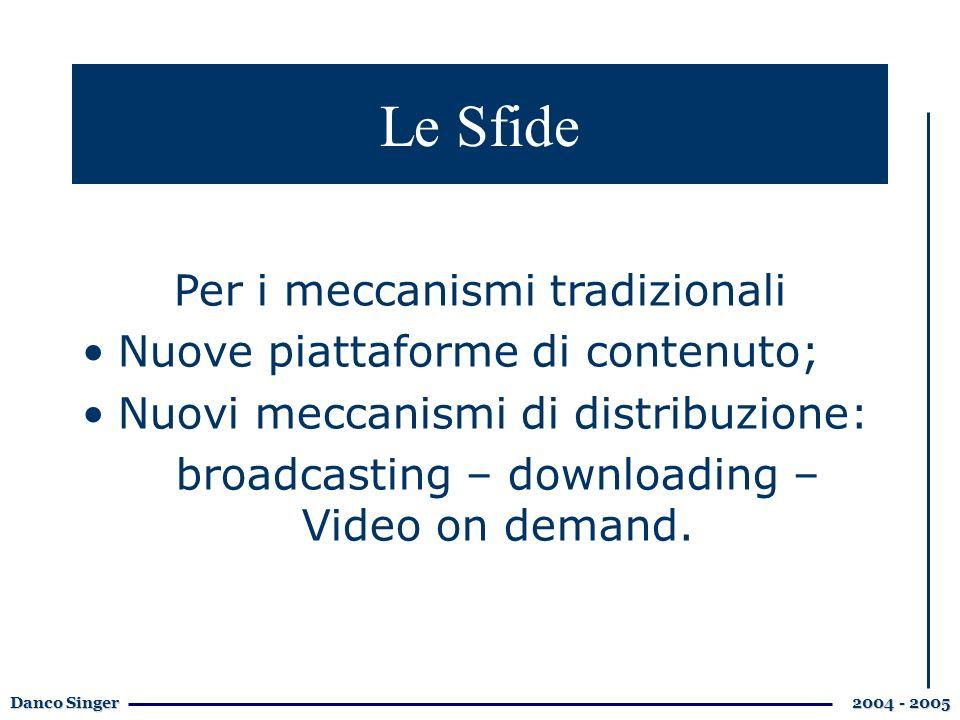 Danco Singer 2004 - 2005 Le Sfide Per i meccanismi tradizionali Nuove piattaforme di contenuto; Nuovi meccanismi di distribuzione: broadcasting – downloading – Video on demand.