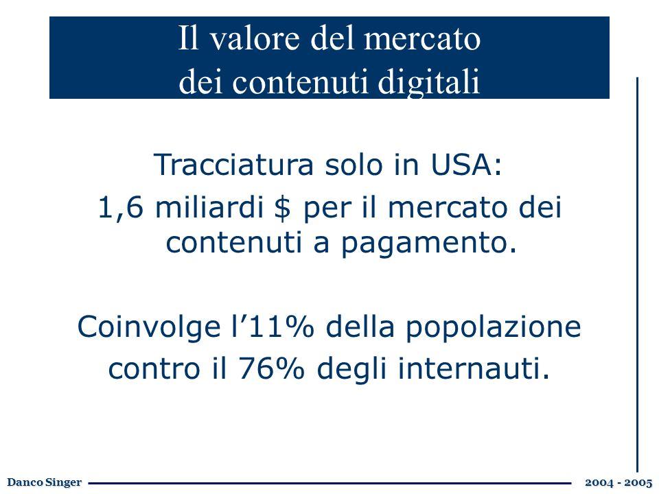 Danco Singer 2004 - 2005 Il valore del mercato dei contenuti digitali Tracciatura solo in USA: 1,6 miliardi $ per il mercato dei contenuti a pagamento.