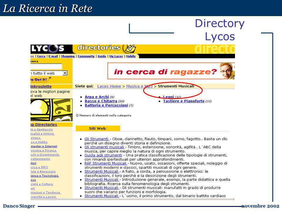 La Ricerca in Rete Danco Singer novembre 2002 novembre 2002 Directory Lycos