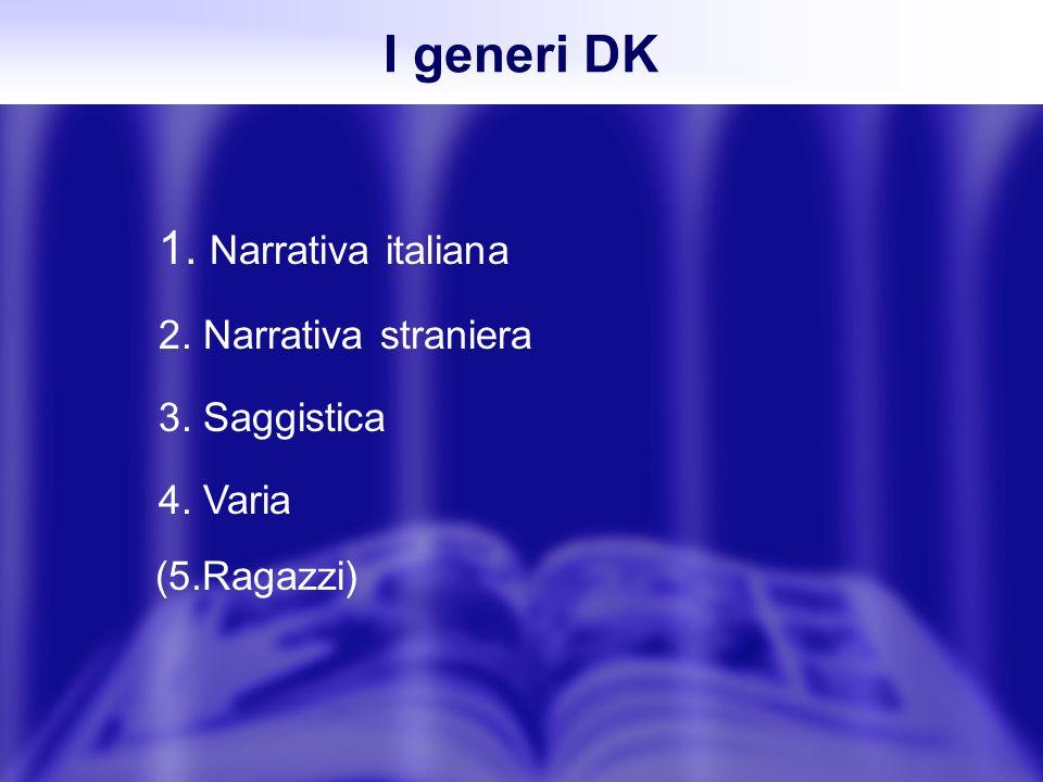 1. Narrativa italiana 2. Narrativa straniera 3. Saggistica 4. Varia I generi DK (5.Ragazzi)