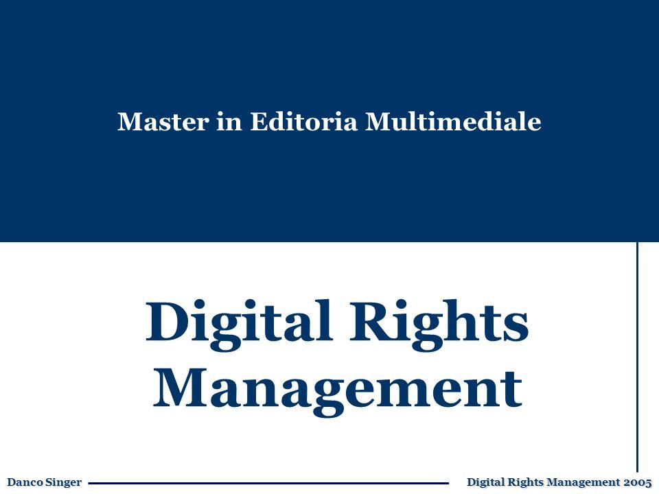 Danco Singer Digital Rights Management 2005 Governments: stabiliscono regole e vigilano sulla loro applicazione, per una adeguata regolamentazione dei mercati.