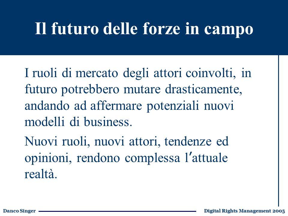 Danco Singer Digital Rights Management 2005 E-learning I ruoli di mercato degli attori coinvolti, in futuro potrebbero mutare drasticamente, andando ad affermare potenziali nuovi modelli di business.
