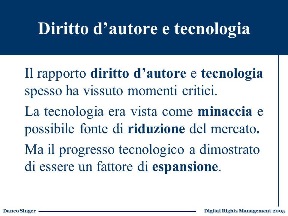 Danco Singer Digital Rights Management 2005 Diritto dautore e tecnologia Il rapporto diritto dautore e tecnologia spesso ha vissuto momenti critici.