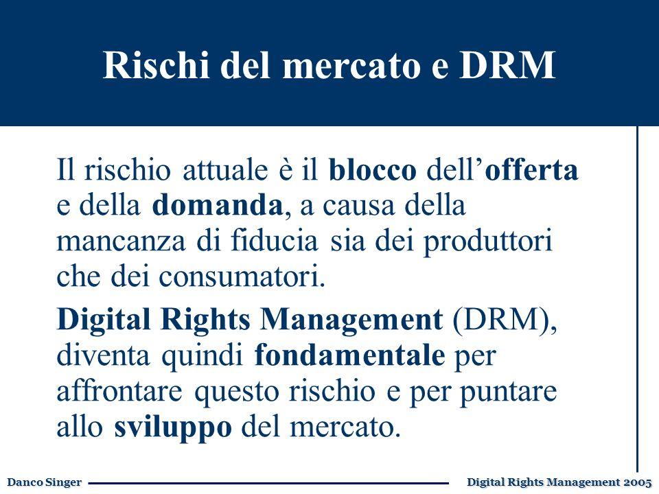 Danco Singer Digital Rights Management 2005 E-learning: i vantaggi Il Digital Rights Management rappresenta un fattore fondamentale per il cosiddetto mercato dei Beni immateriali, sia per lofferta che per la domanda.