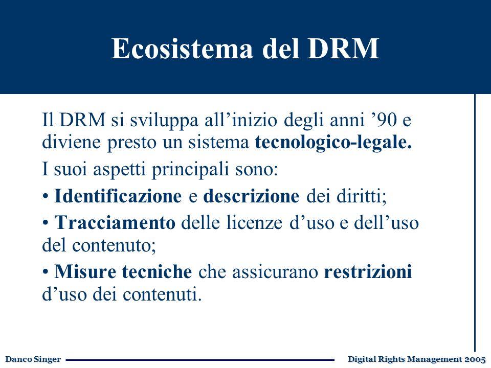 Danco Singer Digital Rights Management 2005 La formazione aziendale Il DRM si sviluppa allinizio degli anni 90 e diviene presto un sistema tecnologico-legale.