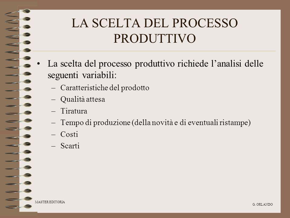 MASTER EDITORIA G. ORLANDO LA SCELTA DEL PROCESSO PRODUTTIVO La scelta del processo produttivo richiede lanalisi delle seguenti variabili: –Caratteris
