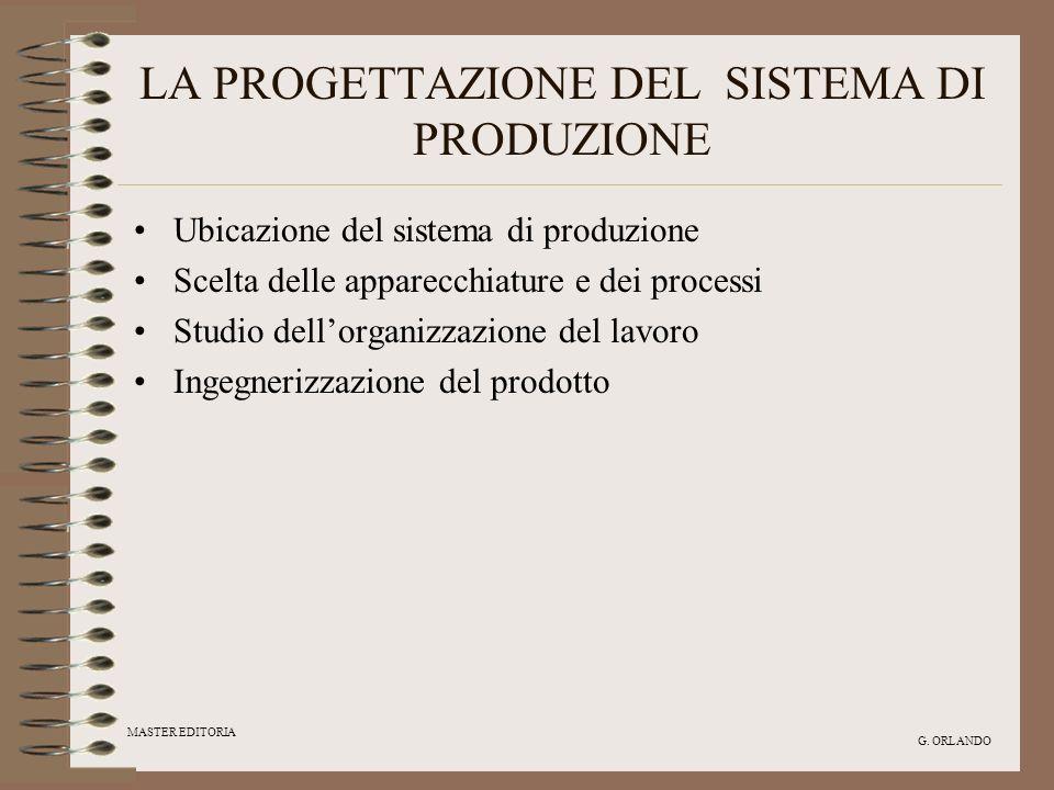 MASTER EDITORIA G. ORLANDO LA PROGETTAZIONE DEL SISTEMA DI PRODUZIONE Ubicazione del sistema di produzione Scelta delle apparecchiature e dei processi